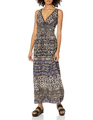 Angie Women s Blue Printed Maxi Dress, Large
