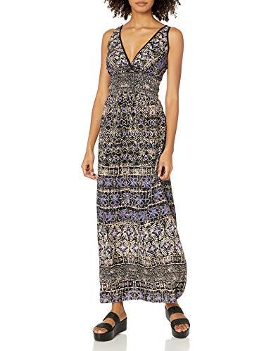 Angie Women's Blue Printed Maxi Dress, Medium