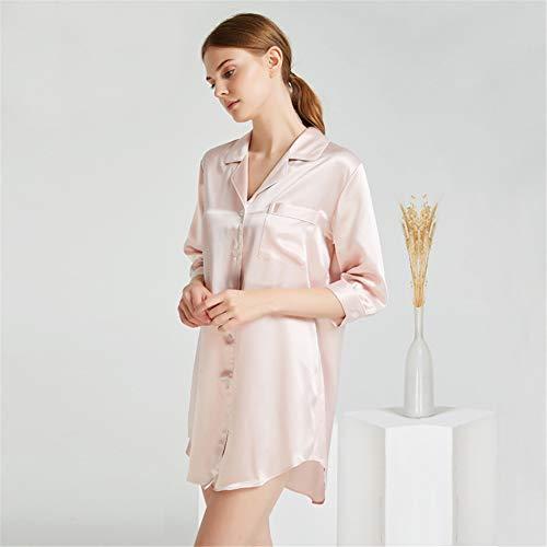 BUTTERFLYSILK Frauennachthemd, reines Seidennachthemd Schlafanzug Nachthemd Halbarm Schlafhemd Nachthemd für Damen Nachtwäsche Nachtwäsche Loungewear,Pink,M