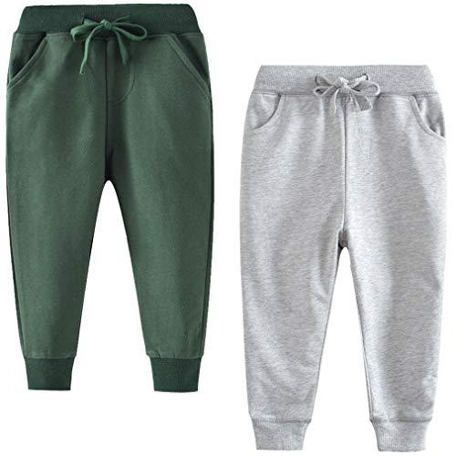 Little Boys Cotton Casual 2T Sweatpants Toddler Boys' Drawstring Elastic Waist Solid 2T Jogger Pants 2 Pack Set Gray Green 2T