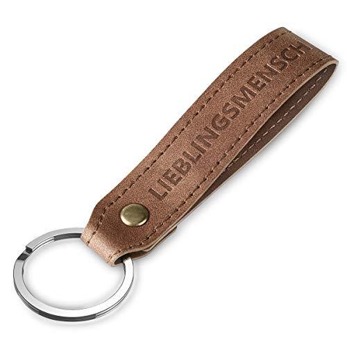 Supgear Schlüsselanhänger Leder, Stylisches Key Chain Geschenke für Männer Frauen Geschenk zum Geburtstag, Valentinstag,Jahrestag, Ostergeschenke Erwachsene mit Gravur Lieblingsmensch (Hellbraun)