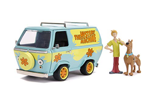 Scooby-Doo 1:24 Mystery Machine Die-cast Car with 2.75' Shaggy and Scooby Figures, Toys for Kids and Adults