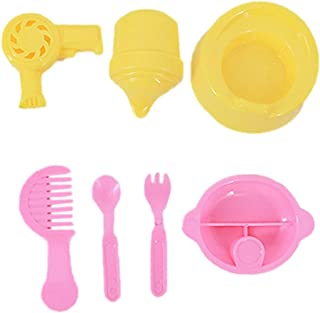 YHomU Food Bowl Fork Spoon Comb Potty Seat Interactive Baby Doll Accessories Mini 7PCS Realistic Creative Adorable Baby Do...