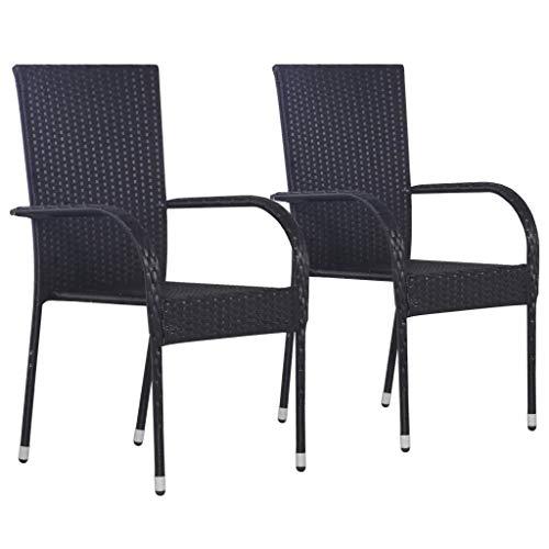 Sunlight - Juego de 2 sillas de comedor apilables para exteriores, sillas de comedor, sillones, sillones de poliéster, juego de muebles de jardín, 55,5 x 53,5 x 95 cm, color negro