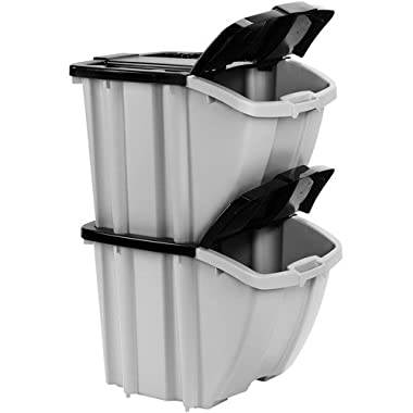 Suncast Stacking Recycling Bins 2 Bin Value Pack BH188810