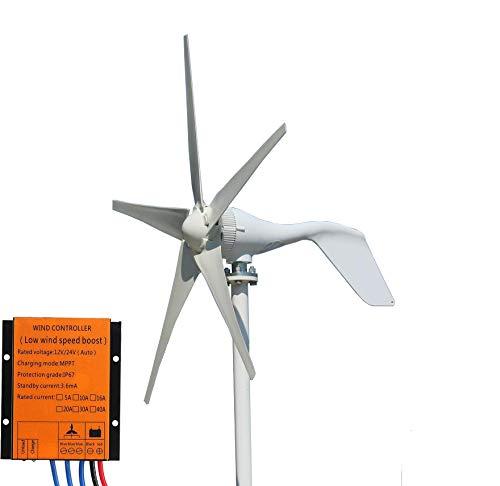 FLTXNY POWER Aerogenerador 500W 24V turbina eolica 5 Palas aerogenerador eolico domesticos generador molino eolico controlador de carga