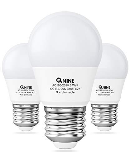QNINE E27 LED Warmweiss, 6W(ersetzt 40-50W Glühbirne), Glühbirne Tropfenform, 2700K, Nicht Dimmbar, 3 Stück