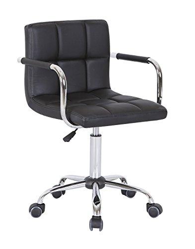 HNNHOME - Silla Giratoria de Cuero Sintético con Nuevo Diseño - Mueble de Oficina Silla Computadora Escritorio - Negro