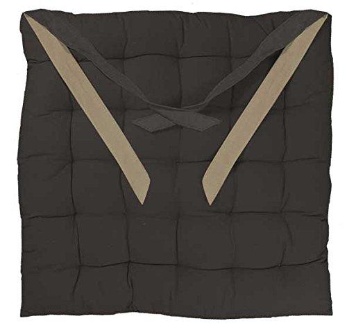 Homemaison VALAYANS Galette de chaise carrée matelassée Coton Anthracite 40 x 40 cm