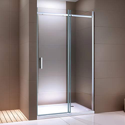 Dusche für Nische mit Schiebetür DX806A FLEX - Nano ESG-Sicherheitsglas - Breite wählbar, Breite Schiebetür-Element:130cm