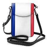 Bandera de Francia Bolso bandolera pequeño para teléfono celular, cartera con correa para mujer