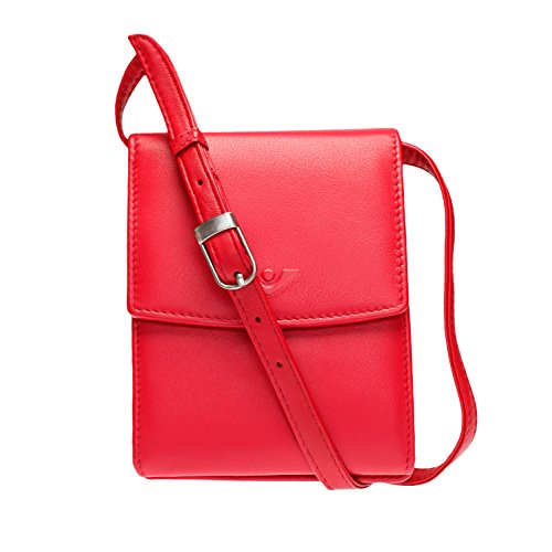 VOi Umhängetasche mit Gürtelschlaufe 10063 Geldbörse zum Umhängen aus 100% Leder in Rot