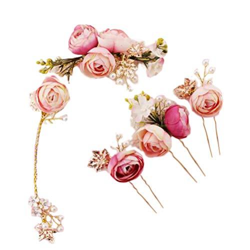Lurrose 5 Unids En forma de U Rosa Flor de horquilla Comillas Laterales Francesas Pinzas para el cabello Accesorios de boda para la novia dama de honor (Rosa)