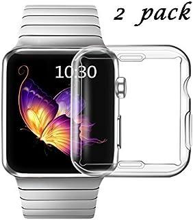 Carcasa de TPU para Apple Watch 3, diseño sonriente, incluye protector de pantalla, de alta definición, transparente, ultrafina, para Apple Watch 1.496in, serie 3 y serie 2 (2 unidades) (1.496in de transparencia)