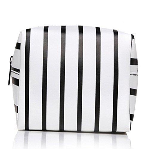 Lovemay Sac cosmétique de dames de style rayées de sac cosmétique tenu dans la main solide de voyage 19 * 12 * 9cm