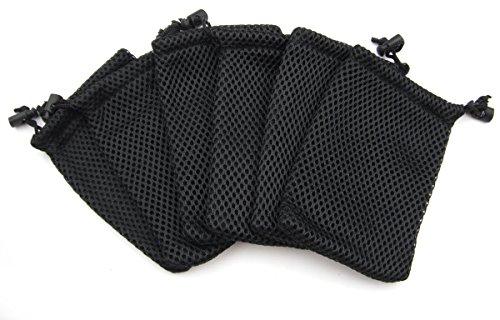 ALL in ONE Nylon-Mesh-Tasche mit Kordelzug für Mini Stuff Handy MP3, 9 x 14 cm, Schwarz, 6 Stück