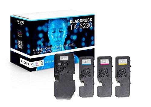 4er Set XL Toner kompatibel zu Kyocera TK-5230 für Kyocera Ecosys M5521cdw M5521cdn P5021cdw P5021cdn - mit Chip und Füllstandsanzeige [1400 Seiten mehr als TK-5220]