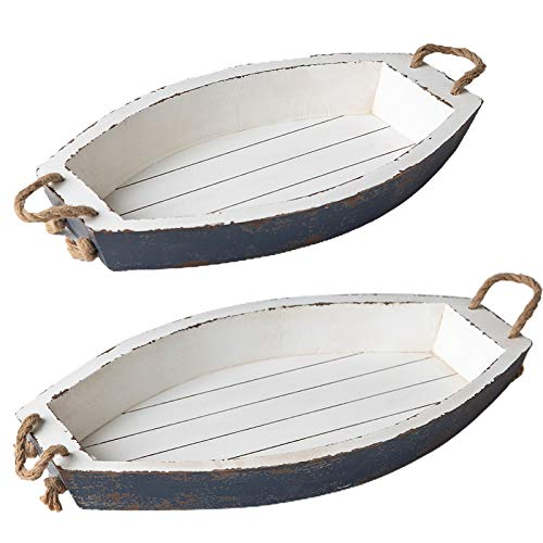Distressed White Nesting Wood Serving Tray for Eating with Rope HandlesSet of 2 Farmhouse Handwork Boat Shaped Large Decoration Serving Trays for Party Kitchen Counter Dining Room Coffee Table