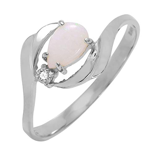 Galaxy Gold 0.26 Carat 14k Solid White Gold Ring with Natural Diamond and Pear-Shaped Opal - Size 10