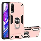 GLORYSHOP Huawei Y9s 2 in 1 Case, Soft Silicone TPU Slim Hard PC Shockproof Case Cover with Ring Magnetic Car Mount Kickstand for Huawei Y9s /Honor 9 / Honor 9X, Pink
