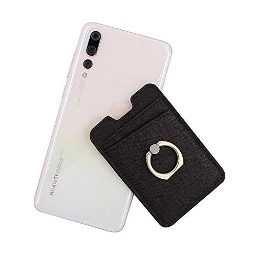 D/A Soporte para tarjetas de teléfono con agarre de anillo para la parte posterior del teléfono, bolsillo adhesivo para tarjetas de crédito para iPhone, Android y teléfonos inteligentes (negro)
