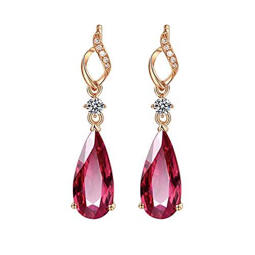 Daesar Orecchini in Oro 18Kt (750) 2.98ct Forma di Goccia di Tormalina Rossa Pera Orecchini Diamante Argento Orecchini Oro Rosa Donna Pendentiorecchino Donna Vintage