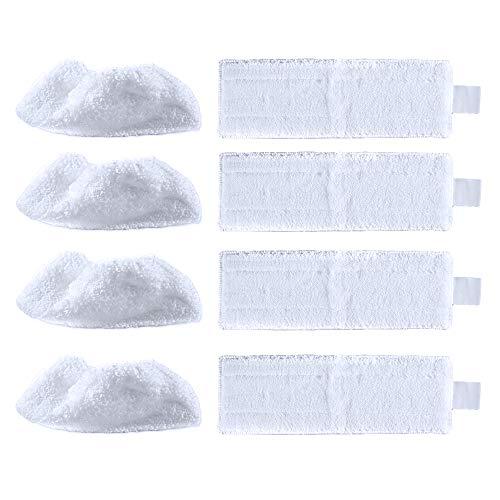 iAmoy Ersatz Mikrofaser Wischpads Tuchset Kompatibel mit Kärcher EasyFix SC 2,SC 3,SC 4,SC 5 Dampfreiniger,4 Breitboden Tuch + 4 Handdüse