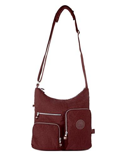 Crossbody Bag Multi-Pocket Shoulder Bag - Wine Red