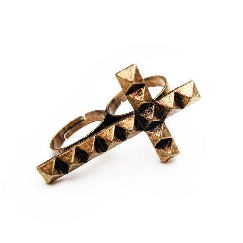 Kruis ring klinknagels optiek dubbele ring vintage brons - verstelbare grootte - jaren 80 kruisring retro stijl