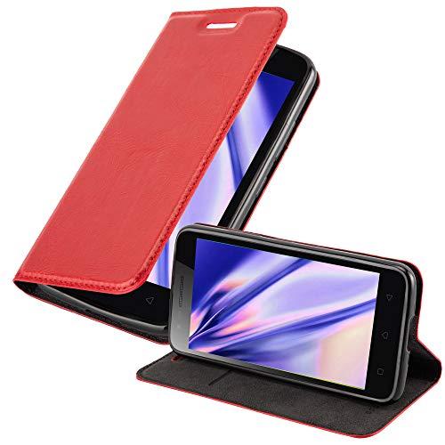 Cadorabo Hülle für Lenovo C2 - Hülle in Apfel ROT – Handyhülle mit Magnetverschluss, Standfunktion & Kartenfach - Hülle Cover Schutzhülle Etui Tasche Book Klapp Style