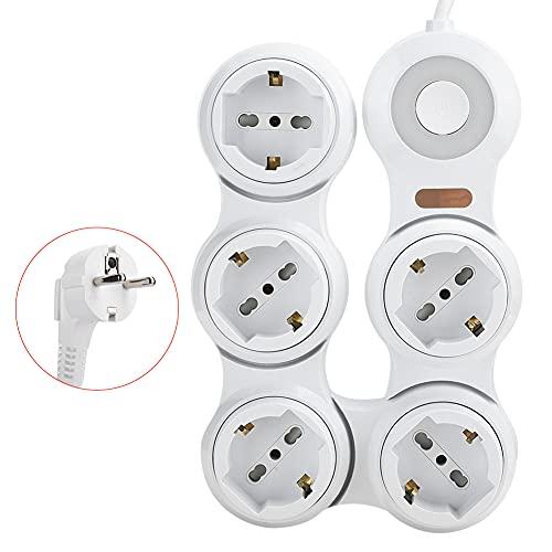 Agatige Toma de Corriente, deformación de la regleta de alimentación 5 Clavijas cóncavas de 10 A con Interruptor indicador de alimentación (Enchufe de la UE 220 V-250 V)