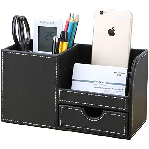 KINGFOM Wooden Struction Leather Multi-function Desk Stationery Organizer Storage Box Pen/Pencil,Cell phone, Business Name Cards Remote Control Holder with Small Drawer Black
