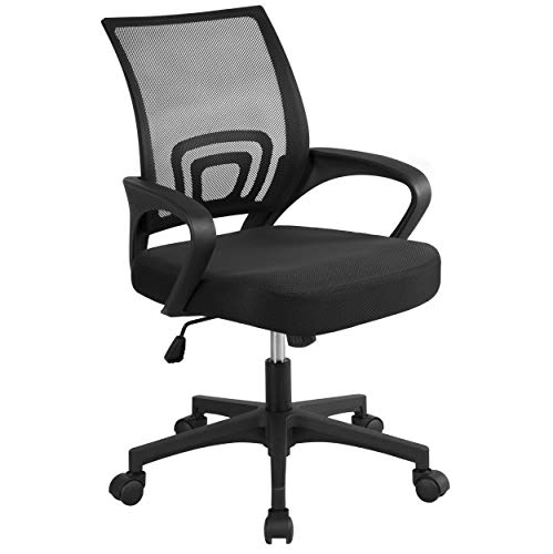 YAHEETECH Office Chair Ergonomic Computer Chair Mid Back Mesh Desk Chair Lumbar Support Modern Executive Adjustable Stool Rolling Swivel Chair, Black