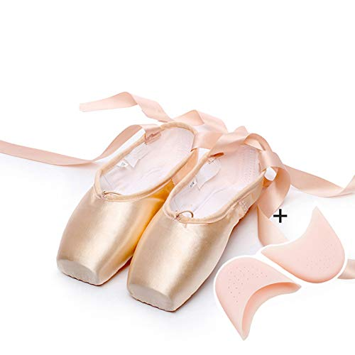 ZED- Ballett Spitzenschuhe Satin/Leinwand Professionelle Tanzschuhe Ballerinas mit Aufgenähten Bändern für Damen Mädchen (Bitte wählen Sie eine Nummer größer)