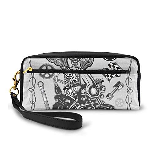 Pencil Case Pen Bag Pouch Stationary,Evil Hipster Dead Skull Skeleton Motorbike Rider Wings Drive to Hell Humor Image,Small Makeup Bag Coin Purse