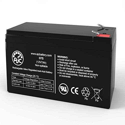 AJC Battery Compatible with Duracell DURA12-7F 12V 7Ah Sealed Lead Acid Battery
