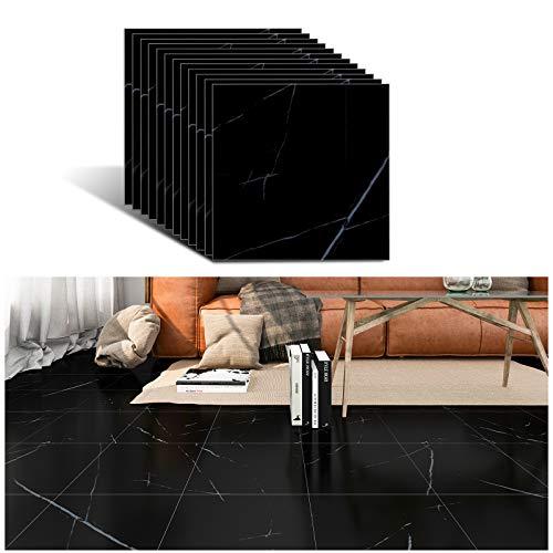 VEELIKE Azulejos de pared vinilo autoadhesivo negro azulejos azulejos azulejos mármol suelo PVC azulejos moderno azulejos para el suelo azulejos para el salón dormitorio baño 30 cm x 30 cm 12 unidades