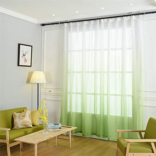FACWAWF Home Nordic Color Degradado Gasa Cortina Tela Transmisión De Luz Adecuada para Sala De Estar Dormitorio Estudio Balcón Cortinas 132x213cm(2pcs)