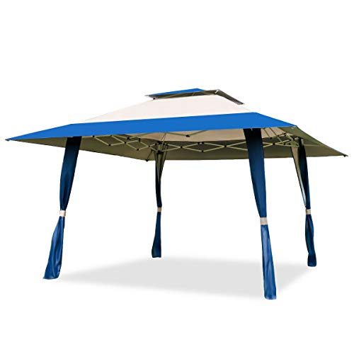 Heize best price Blue 13'x13' Folding Gazebo Canopy Shelter Awning Tent Patio Outdoor Companion Beach Canopy Patio Outdoor Party Shade Shelter (U.S. Stock)