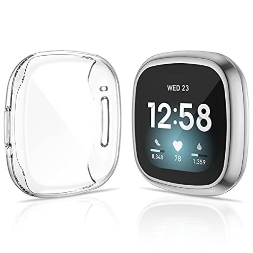 KIMILAR [2 Stücke Schutzhülle Kompatibel mit Fitbit Sense/Versa 3 Hülle, (Nicht für Versa/Versa 2) Vollständige Abdeckung Weiche TPU Cover Hülle Schutzfolie für Versa 3/Sense Smartwatch