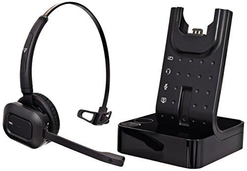 V7 HSW100-1E Schnurloses Büro-DECT-Headset (Noise Cancelling, Mute-Taste, Lithium-Ionen Akku, EU-Stecker)