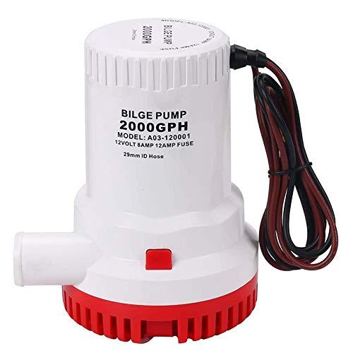 Andylies 2000GPH 12V Bomba de Agua Sumergible para Barco Marino Sumergible, Resistente una la CorrosióN, Resistente una la CorrosióN