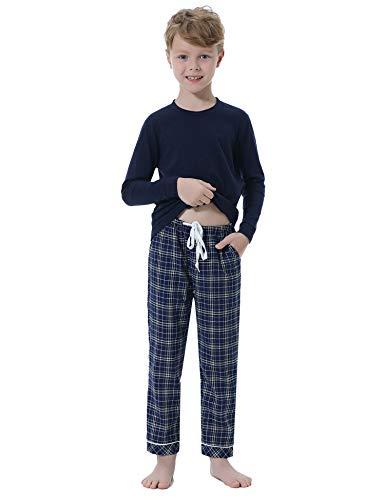 Hawiton Pijamas niños Invierno algodón Manga Larga,Suaves Raya Camiseta con clásico Botones Delanteros y Pantalones Largos, Conjuntos Navideños de Ropa de Dormir 2 Piezas