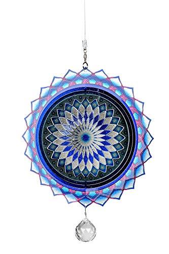 N / A 3D Windspiel Mandala blau-pink Ø 20cm Hänger Edelstahl Fensterhänger Fensterdeko Aufhänger