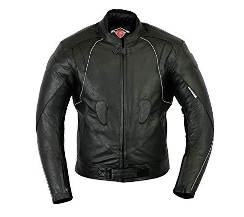 Texpeed - Motorradjacke für Rennen mit Protektoren - Hochwertiges Leder - Schwarz - 2XL
