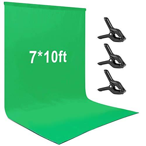 Andoer 2 × 3 m Grün Fotohintergrund, Greenscreen Chromakey Polyester Baumwolle Hintergrund Fotografie mit 3 Federclips für Fotostudio Portrait Videoaufnahme YouTube
