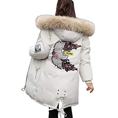Minetom Damen Winterjacke Lang Schwarz Parka Damen Fell Jacke Winter Mantel Daunenjacke Outwear Mit Fellkapuze Beige 01 DE 38