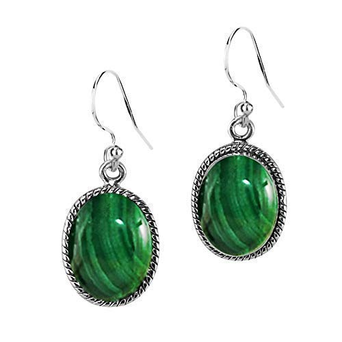 Sivalya 3.00 Ct Oval Natural Malachite Earrings in 925 Oxidized Sterling Silver - Genuine Gemstone Solid Silver French Hook Dangle Earrings 1.5 inches
