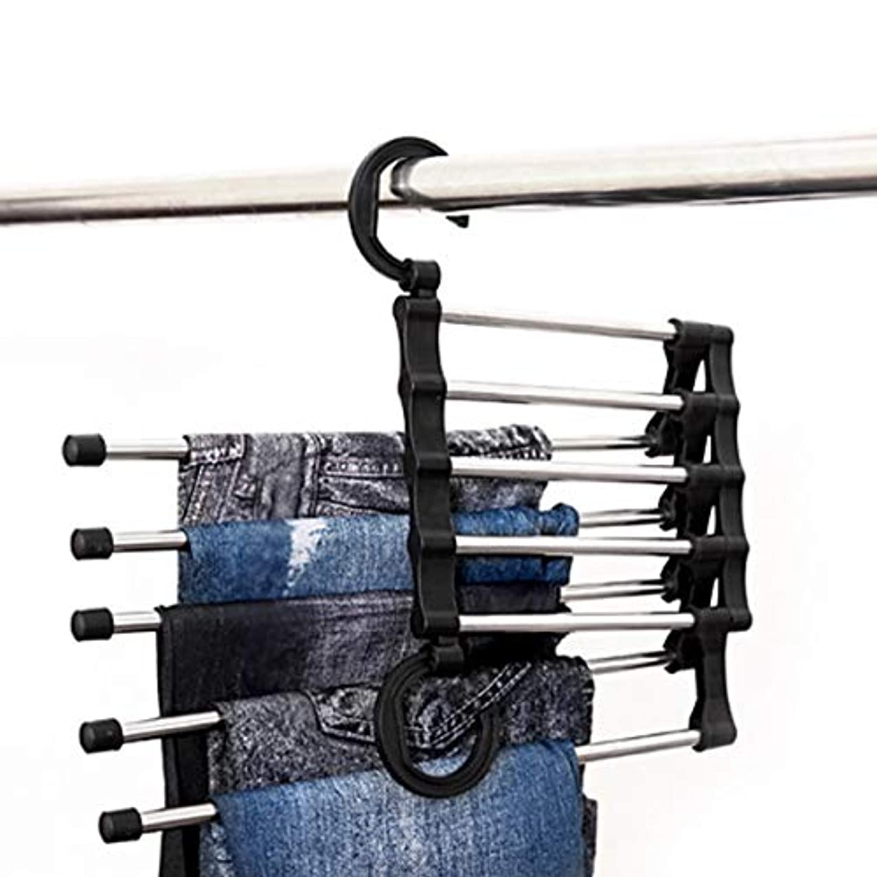 Multi-Purpose Stainless Steel Pants Hanger 5 in 1 Clothes Magic Hanger Space Saving Clothes Folding Hanging Storage Rack (Color : Black)