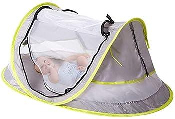 Tente De Plage pour BéBé, avec Chapeau De Protection Solaire à Large Bord, Tente De Voyage Portable UPF 50+ pour BéBé, Abri Solaire Pliable pour Lit D'ExtéRieur, Moustiquaire Et 2 Piquets.
